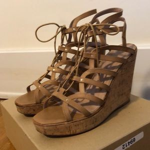 Joie Platform Wedges Lace-Up Size 39.5 Nude